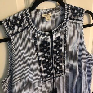 JCrew Factory embroidered, striped shirt
